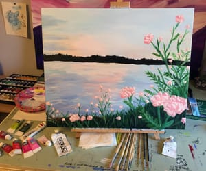 acryl, canvas, and flowers image