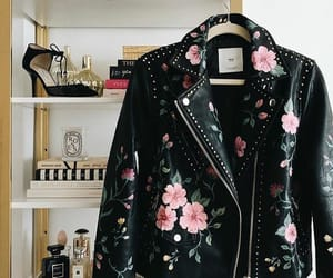 black, flowers, and leather image