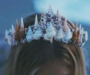 mermaid, crown, and beach image