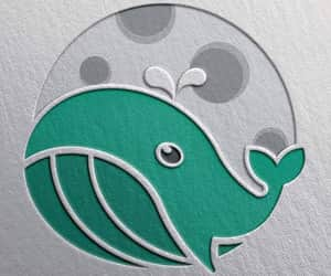 art, green, and whale image