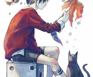 anime, boy, and fish image
