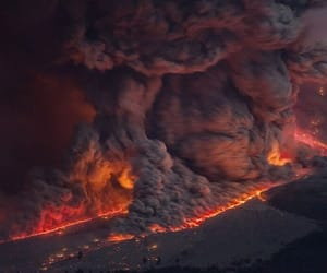 fire, lava, and volcano image