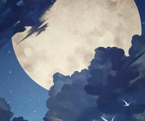 anime, art, and moon image