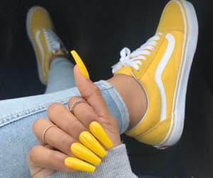 nails, yellow, and vans image