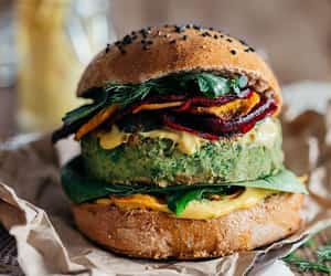 burger, vegan, and food image