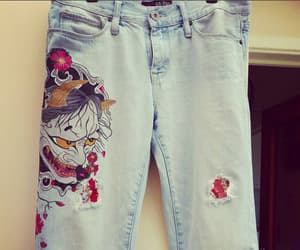 hannya, custom jeans, and japanese mythology image