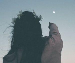 girl, moon, and sky image
