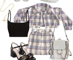 fashion, outfit, and plaid image