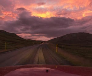 road, car, and sky image