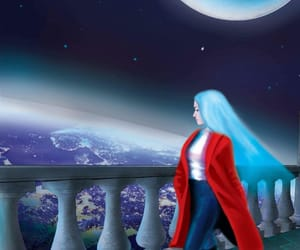 aesthetic, blue hair, and earth image