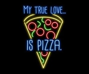 pizza, wallpaper, and neon image