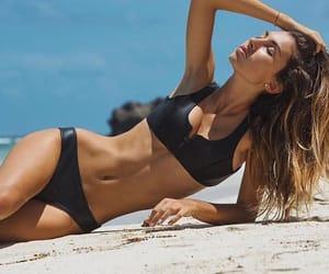beach, black hoaka, and girl image
