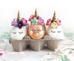 unicorn, easter, and eggs image