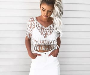 fashion, white skirt, and cute image