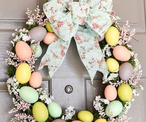 easter, door, and eggs image