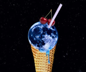 art, ice cream, and moon image