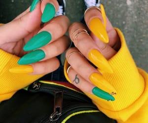 nails, yellow, and green image