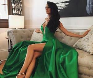 dress, green, and hair image