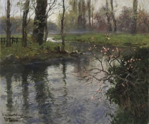 painting, river, and spring image