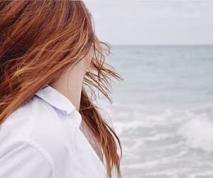 aesthetic, red hair, and ocean image