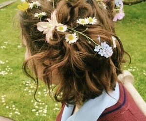 flowers, hair, and aesthetic image