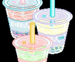 kawaii, bubble tea, and pixel image