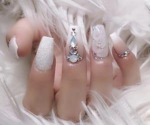 nails, glitter nails, and clear nails image