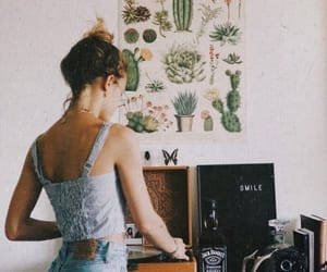 cactus, girl, and retro image
