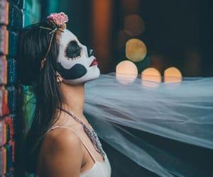 beautiful, woman, and mask image