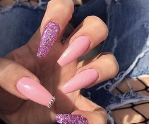 diamonds, glitter, and nails image