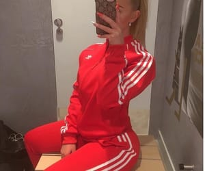 adidas, red, and tracksuit image
