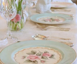 delicious food, pastels, and table setting image