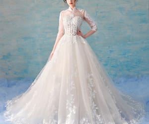 bridal, bridal gown, and illusion image