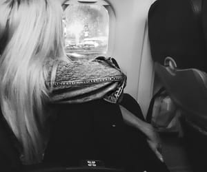 black and white, plane, and girly image