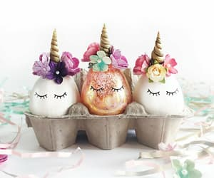 easter, unicorn, and eggs image