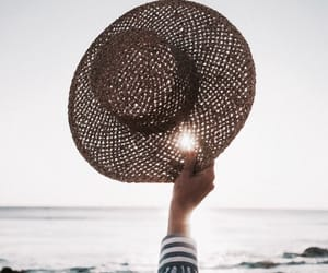 beach, hat, and water image