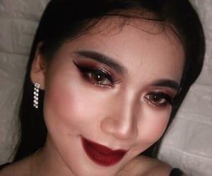 eye makeup, makeup, and dark red lips image