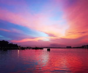 blue, pink, and scenery image