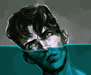 black and white, blue, and boy image