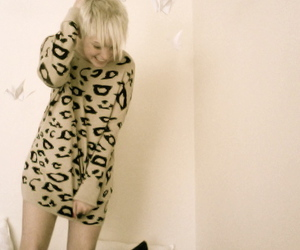 animal print, girl, and sweater image
