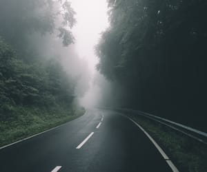 misty, road, and trees image