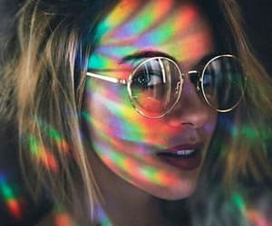 girl, rainbow, and glasses image