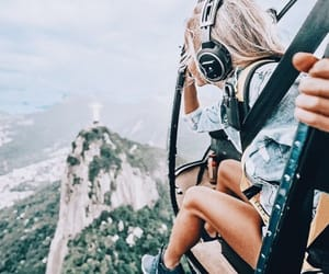 travel, girl, and helicopter image