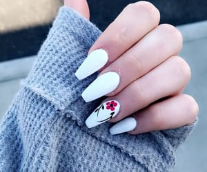 flower, white, and nail image