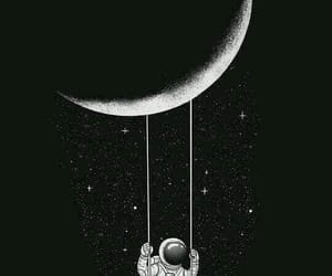 moon, astronaut, and wallpaper image