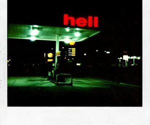hell, gas station, and night image
