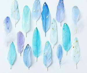 blue, feather, and pastel image