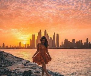 sunset, girl, and beautiful image