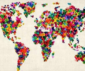 world, love, and heart image