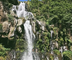 green, Island, and waterfall image